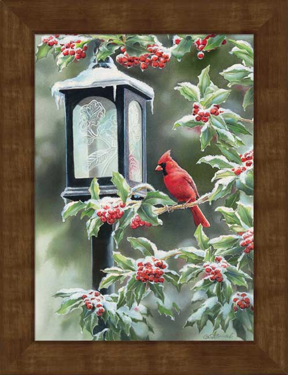 Small Winter Cardinal Bird Framed Canvas Art Print Wall Art