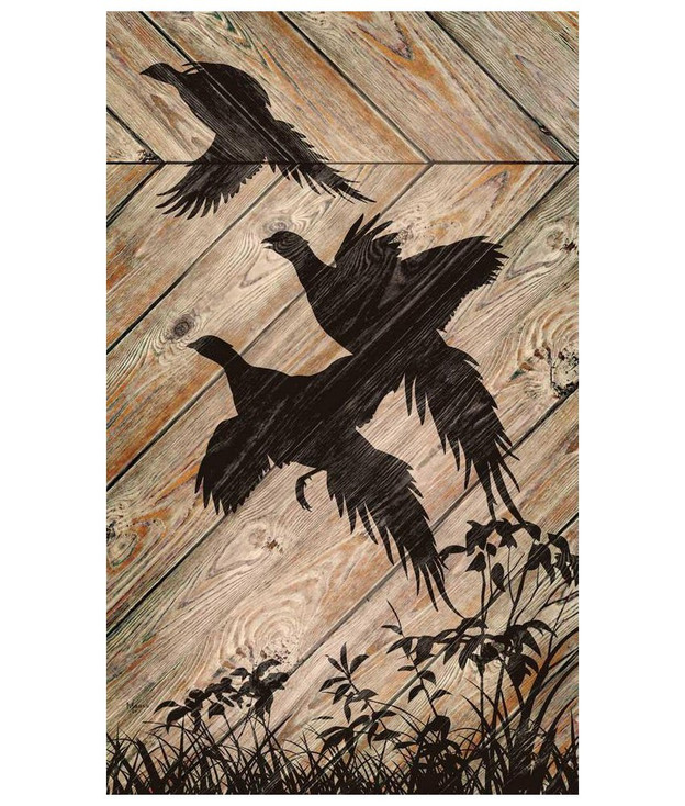 Flying Pheasant Bird Silhouette Wood Sign