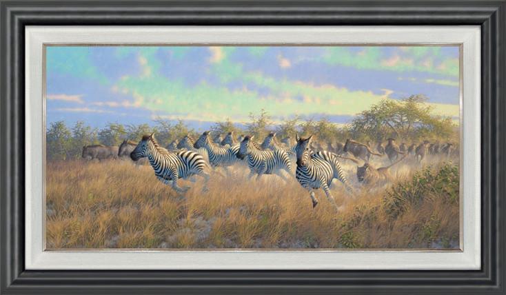 Lions, Zebra, Wildebeest Framed Canvas Giclee Art Print Wall Art