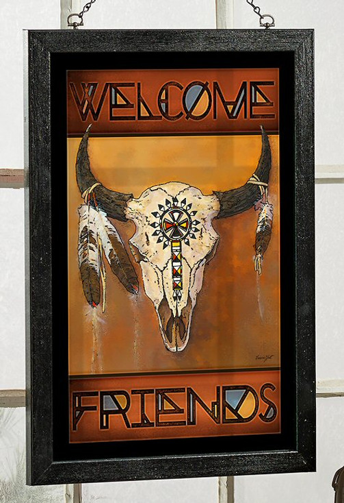 Big Medicine Bison Skull Stained Glass Welcome Wall Art
