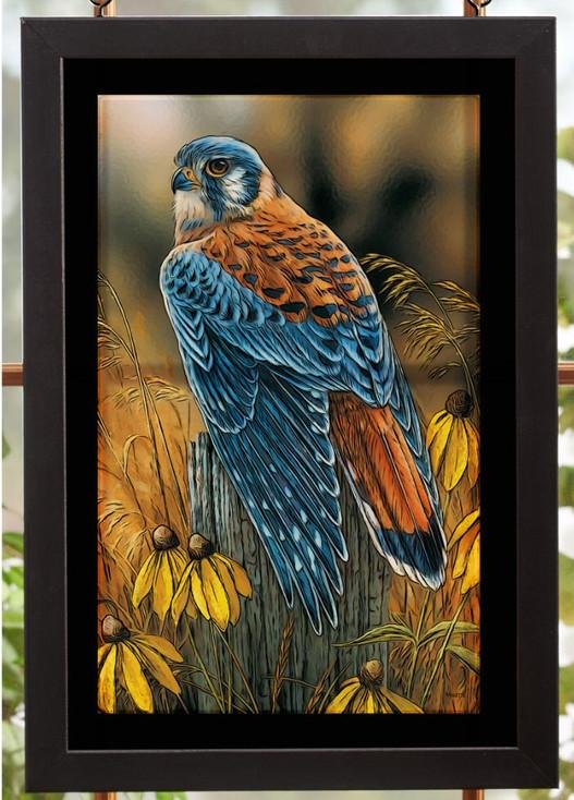 Fencepost Perch Kestrel Bird Stained Glass Wall Art