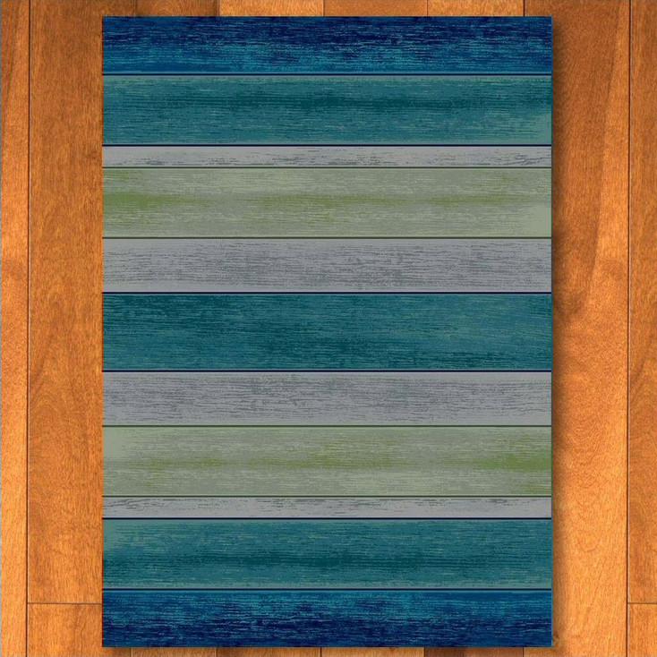 5' x 8' Bungalow Stripe Aqua Rectangle Rug