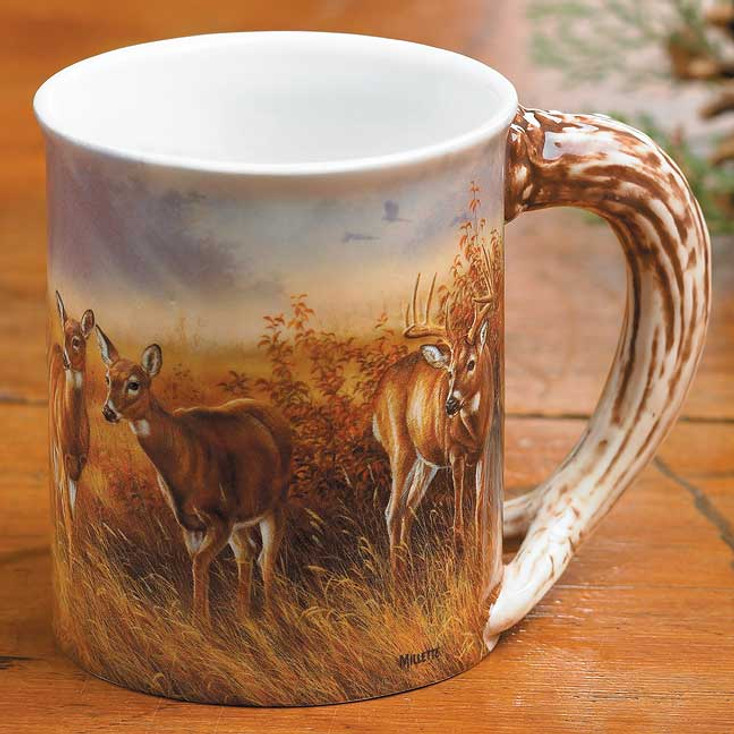 Meadow Mist Whitetail Deer Sculpted Stoneware Coffee Mugs, Set of 6