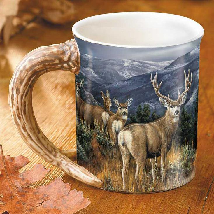 The Last Glance Mule Deer Sculpted Stoneware Coffee Mugs, Set of 6
