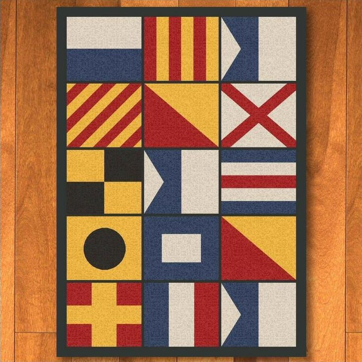 5' x 8' Nautical Signal Flag Rectangle Rug