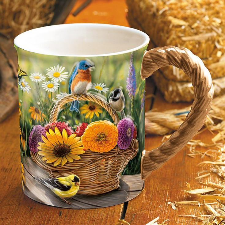 Summer Bouquet Songbirds Sculpted Stoneware Coffee Mugs, Set of 6
