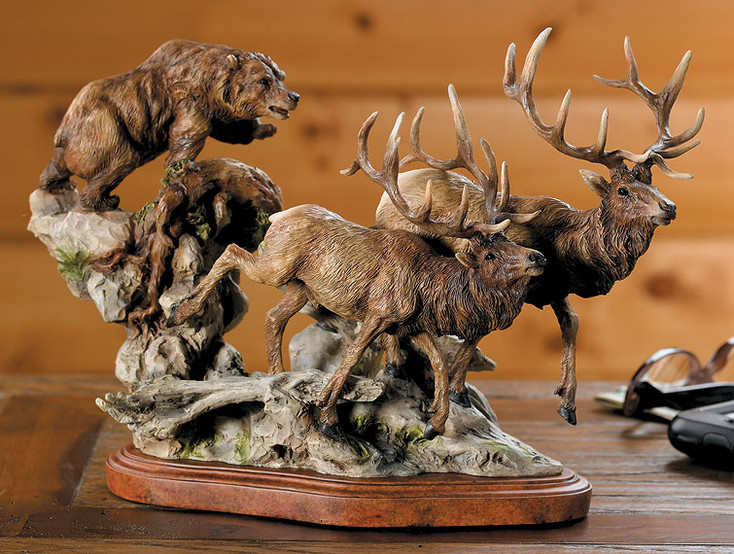 The Encounter Grizzly Bear and Elk Hand Painted Sculpture