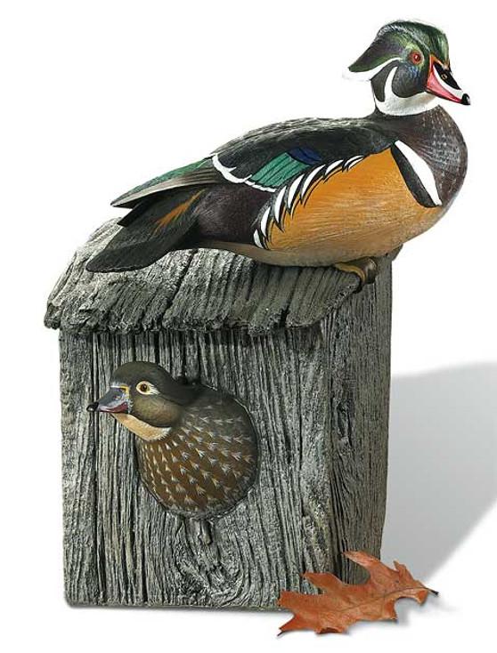 Wood Duck Pair Hand Painted Duck Decoy Sculpture by Sam Nottleman