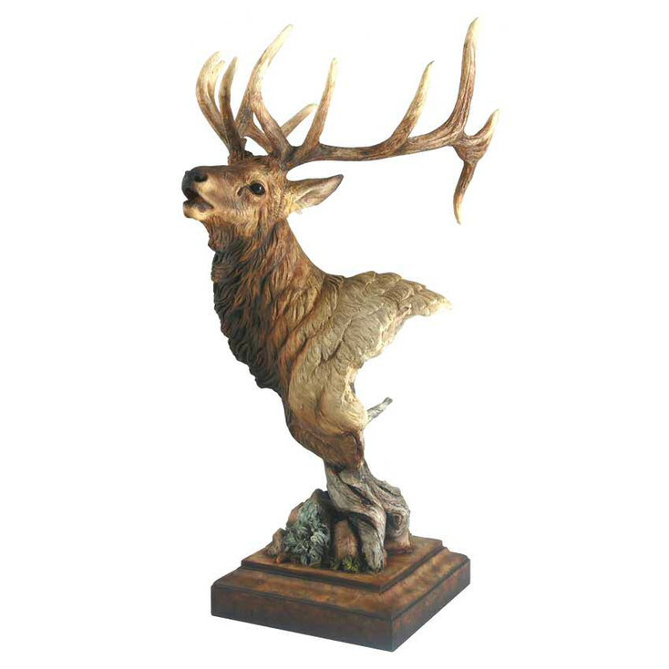 High Point Elk Hand Painted Sculpture