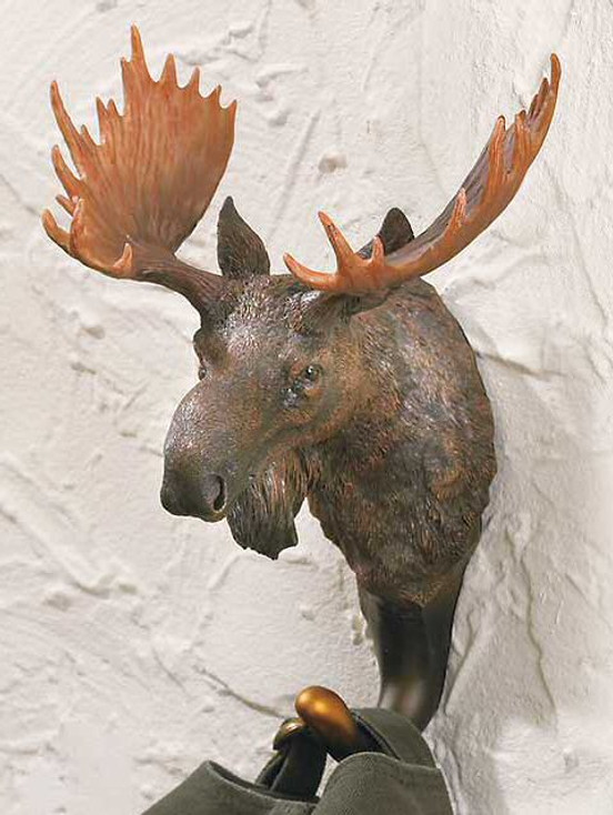 Moose Hand Painted Sculpted Single Wall Hooks, Set of 3