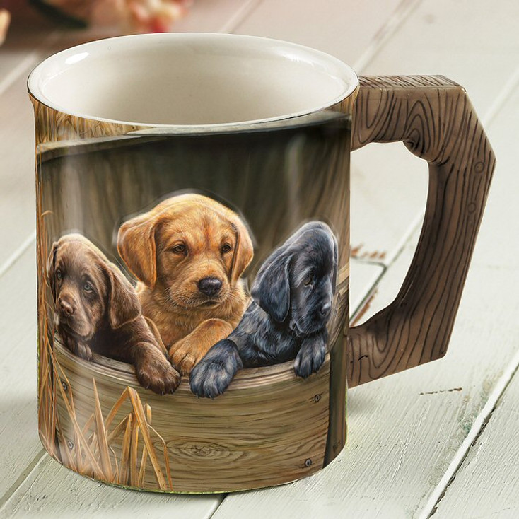 All Hands on Deck Lab Pups Sculpted Stoneware Coffee Mugs, Set of 6