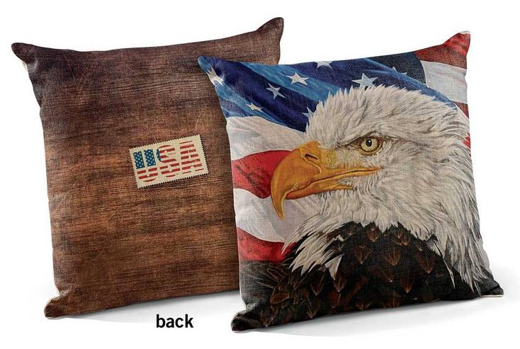"""18"""" Freedom Bald Eagle Bird USA Square Throw Pillows, Set of 4"""