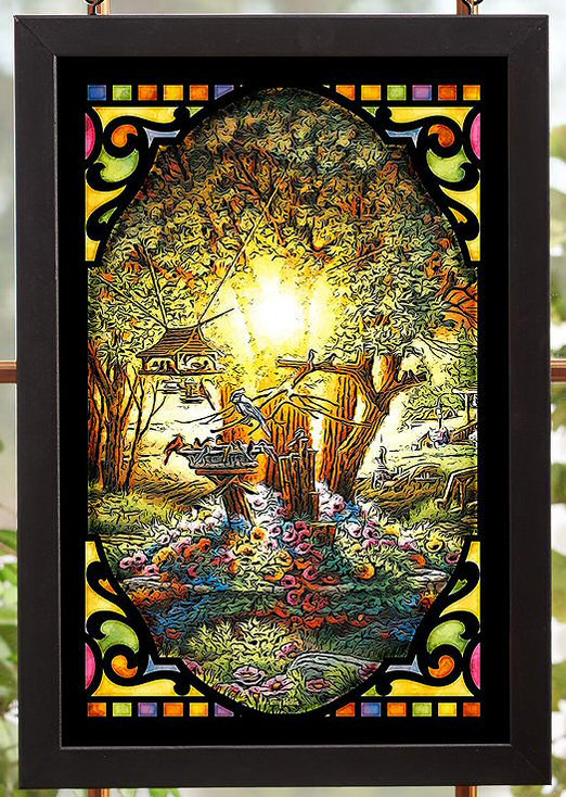 The Colors of Spring Scenic Stained Glass Wall Art