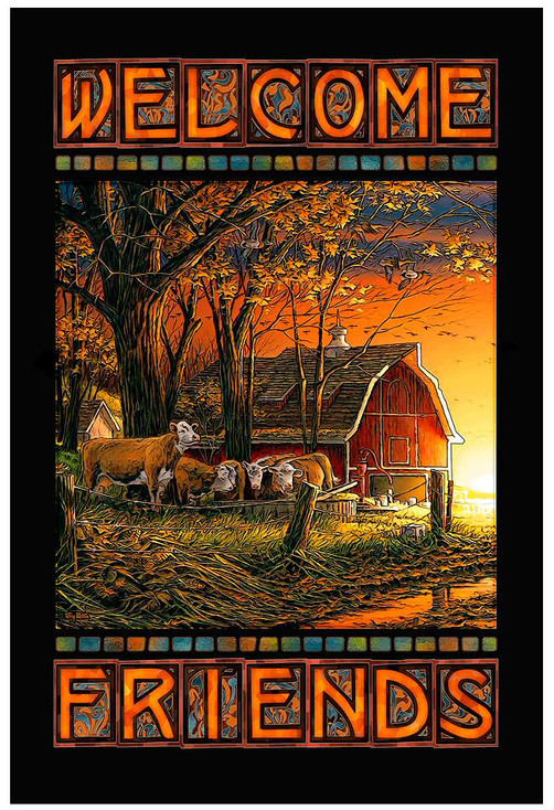 Morning Surprise Barn and Cow Scene Stained Glass Welcome Wall Art