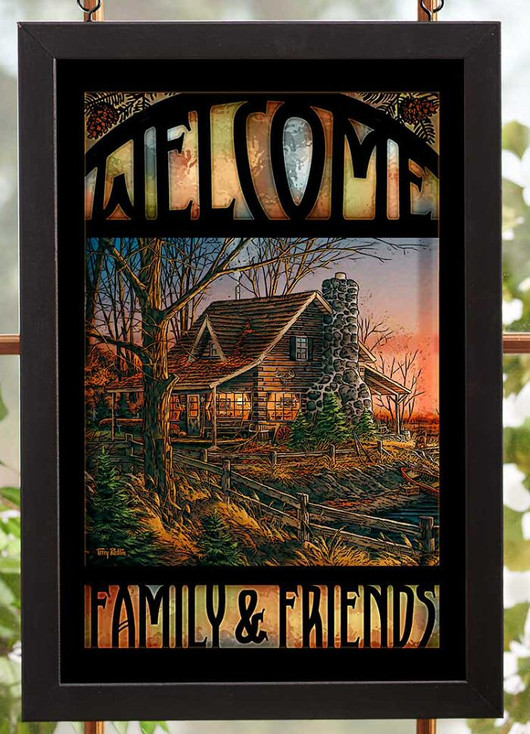 Welcome Family & Friends Stained Glass Welcome Wall Art