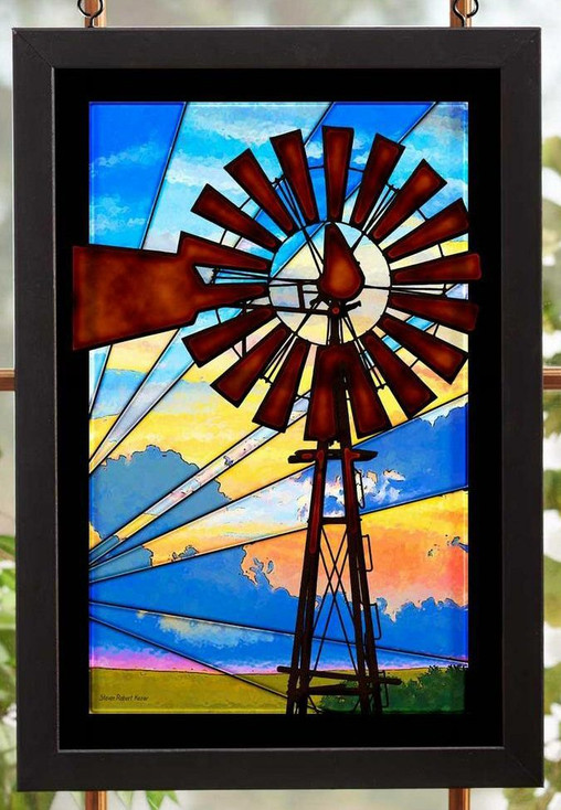 Windmill Stained Glass Wall Art