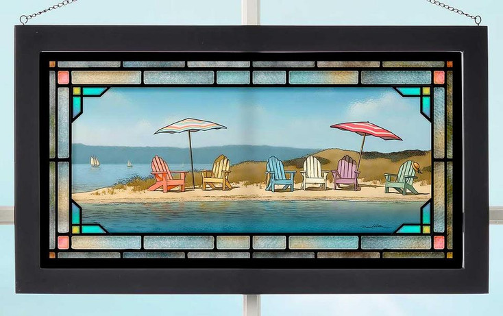Summer Colors Beach Scene Stained Glass Wall Art