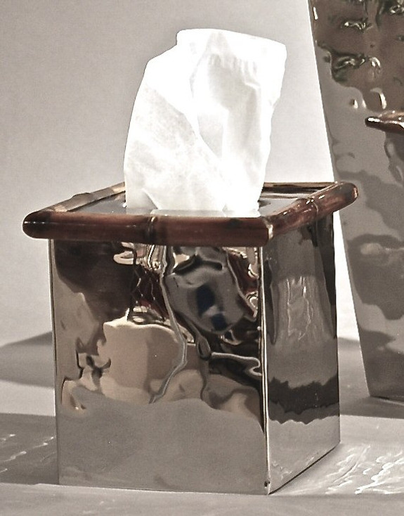 Nickel with Bamboo Steel Boutique Tissue Box Cover, Set of 2