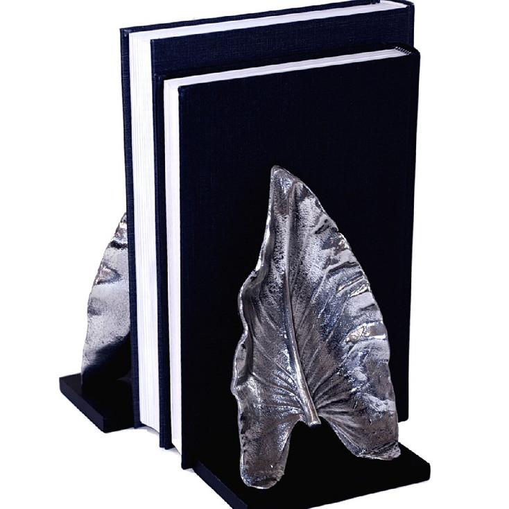 Nickel Leaf Bookends, 2 Sets