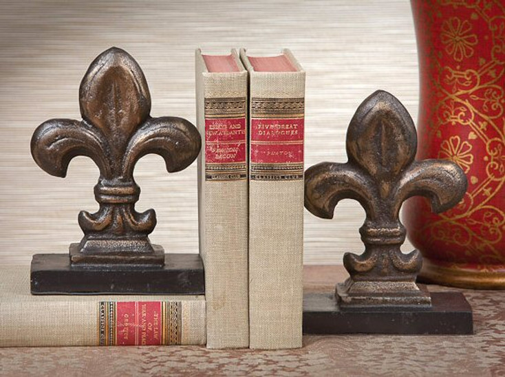 Bronze Iron Fleur De Lis Bookends, 2 Sets