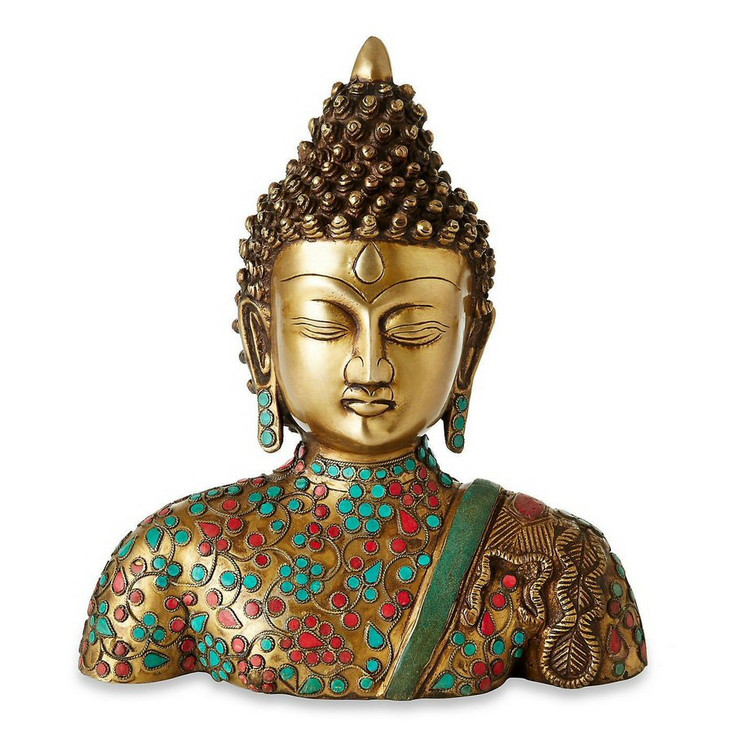 Brass Buddha with Stone Inlay Sculpture