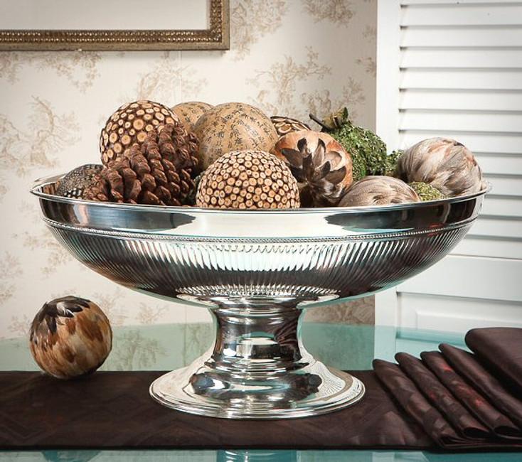 Nickel Finish Brass Centerpiece Bowl