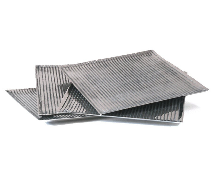 Square Nickel Lined Charger Trays, Set of 4