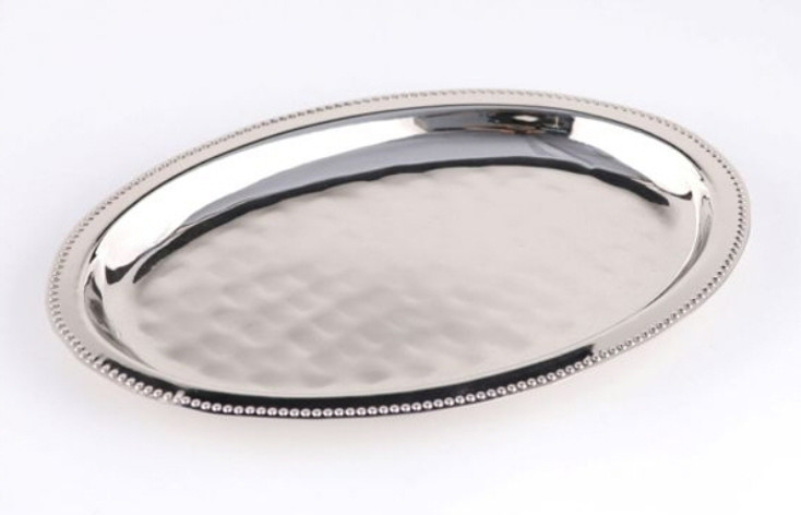 Oval Nickel Beaded Steel Trays, Set of 4