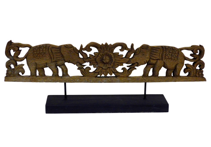 Walking Elephants Wood Plaque Sculpture