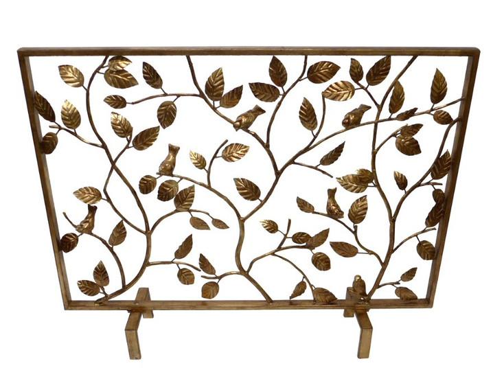 Antique Gold Bird Branch Iron Fireplace Screen