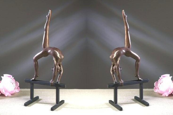 Bronze Iron Balance Beam Gymnast Sculpture, Set of 2