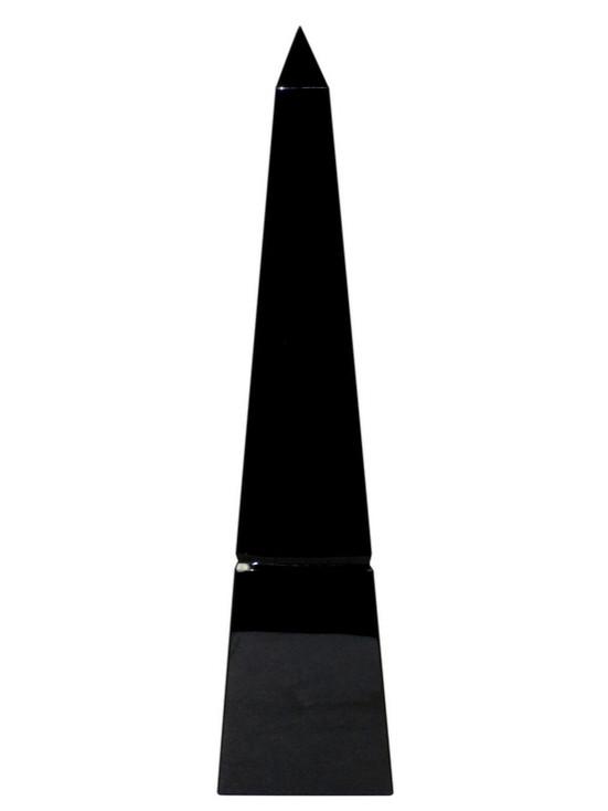 """10"""" Black Crystal Groove Base Obelisk Sculptures, Set of 2"""