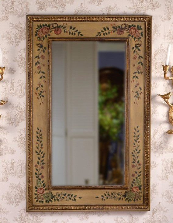 Floral Painted Wall Mirror