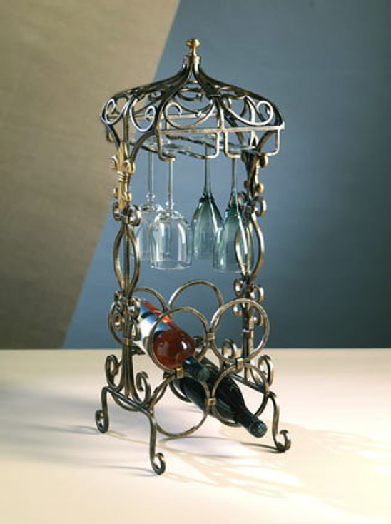 Bronze Iron with Brass Medallions Fleur De Lis Mini Bar Wine Rack