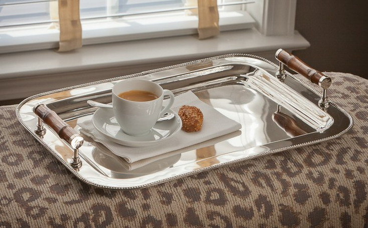 Rectangle Nickel Tray with Bamboo Handles, Set of 2