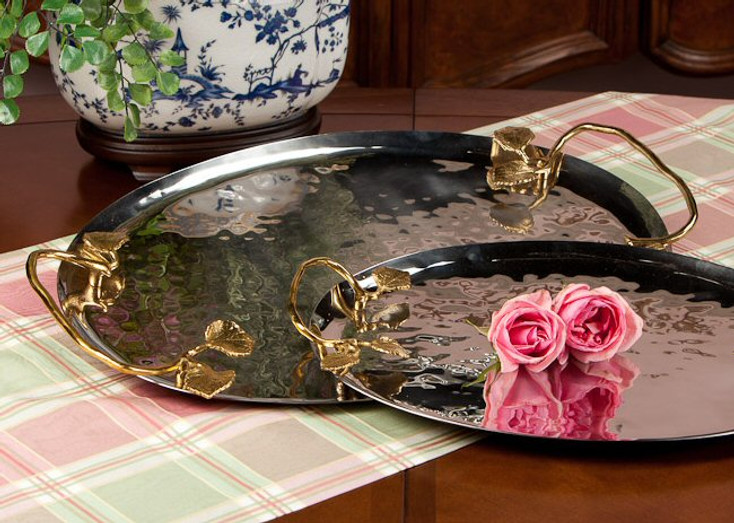 Silver and Brass Leaf Tray