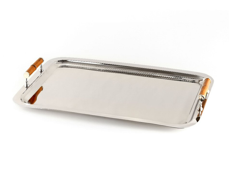 Rectangle Nickel Gallery Tray with Bamboo Handles