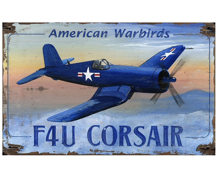 Custom F4U Corsair Plane Vintage Style Metal Sign