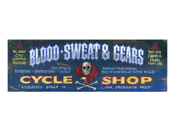 Custom Blood Sweat & Gears Cycle Shop Vintage Style Metal Sign