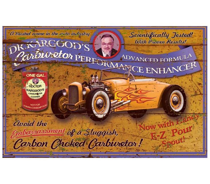 Custom Dr. Kargood Carburetor Enhancer Vintage Style Metal Sign