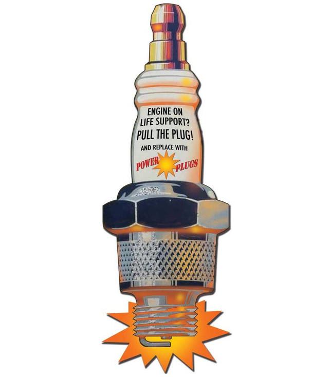 Custom Power Spark Plugs Cutout Vintage Style Metal Sign