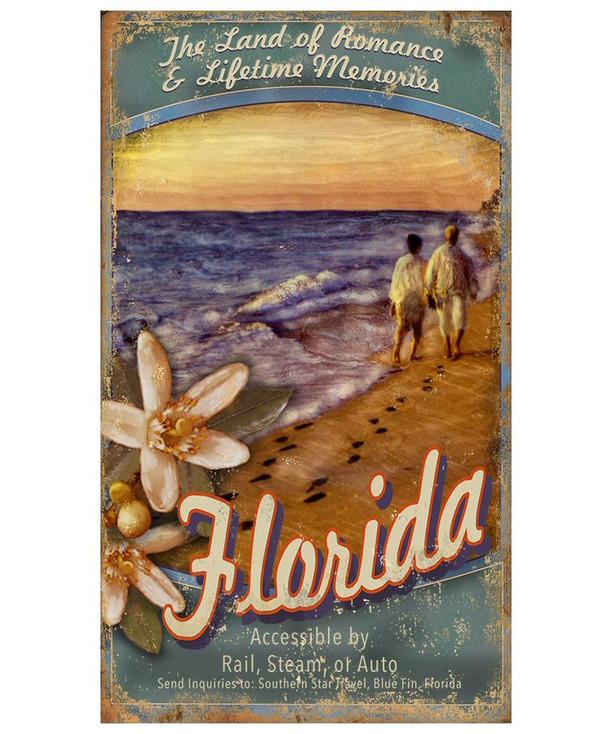 Custom Visit Florida Beach Vintage Style Metal Sign