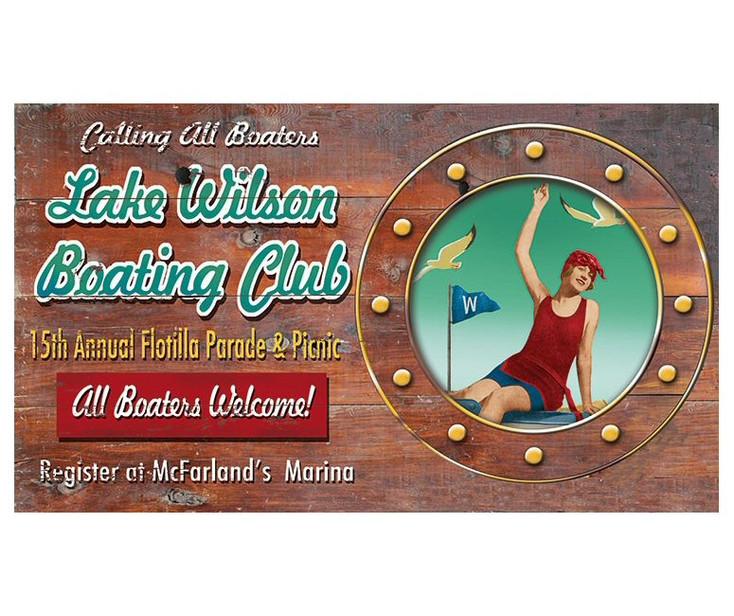 Custom Lake Wilson Boating Club Vintage Style Metal Sign