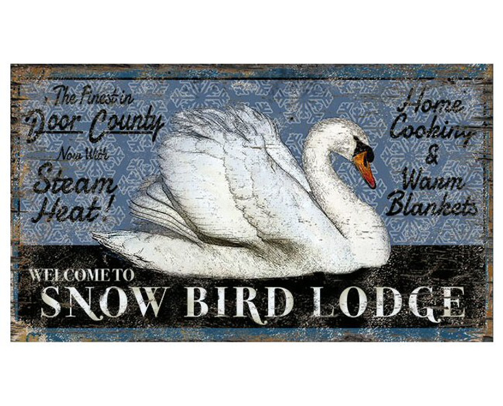 Custom Swan Snow Bird Lodge Vintage Style Metal Sign