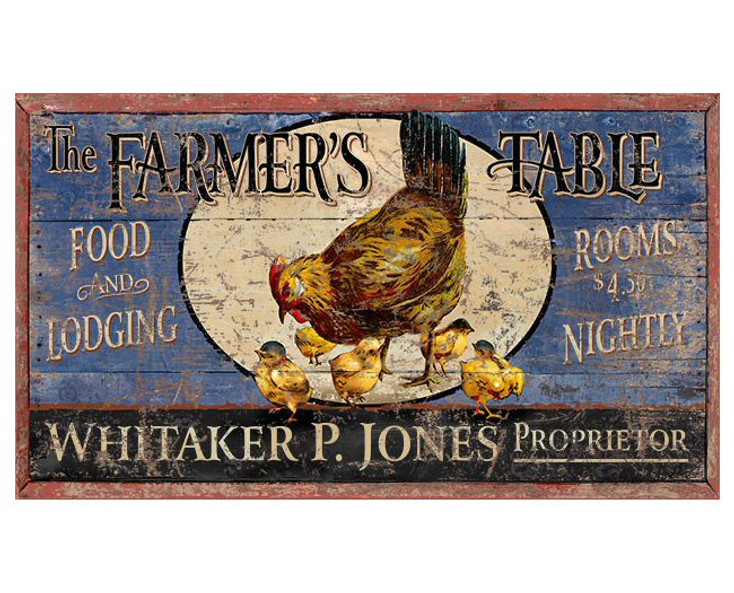 Custom Farmer's Table Food & Lodging Vintage Style Metal Sign