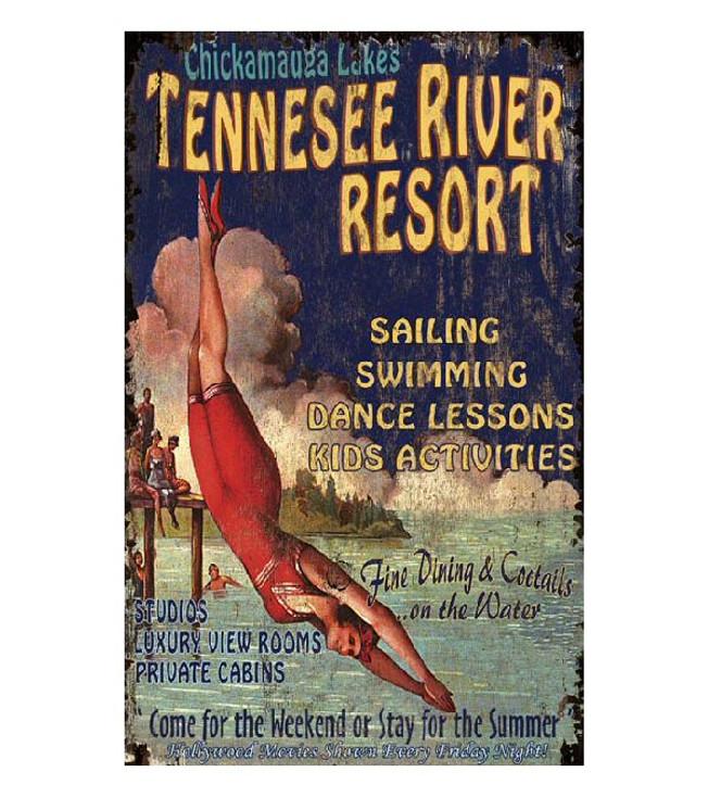Custom Tennessee River Resort Vintage Style Metal Sign