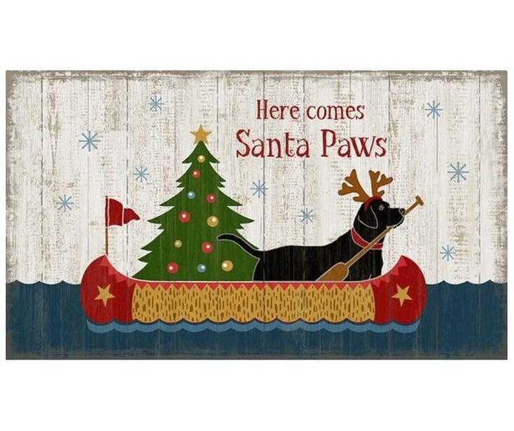 Custom Santa Paws Christmas Dog Vintage Style Metal Sign
