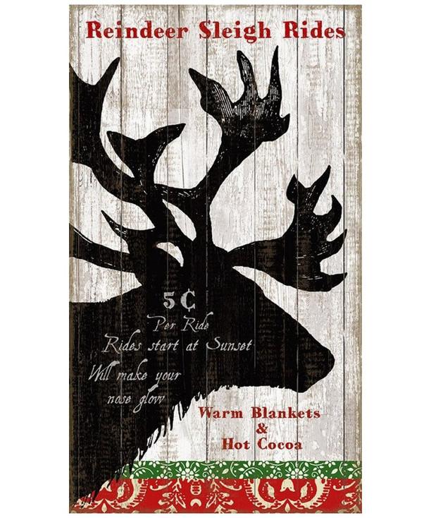 Custom Reindeer Sleigh Rides Vintage Style Metal Sign