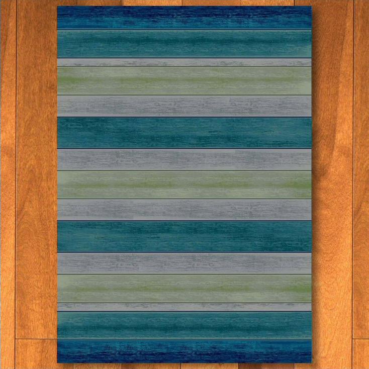 8' x 11' Bungalow Stripe Aqua Rectangle Rug