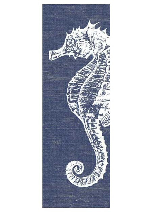 Seahorse with Denim Background Vintage Style Metal Sign